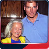 41-year-old Christopher Reeve and Noel Neill pose for a photo by Jim Bowers on 14 May 1994 at the Dixie Trek convention in Atlanta, GA.