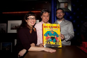 Nine Weiner, Taschen book editor, with Paul Levitz and the book's art director. Photo by Amy Kaplan Photography.