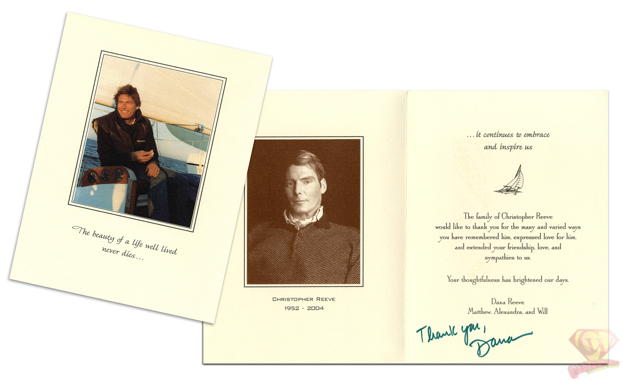 Dana Reeve's Thank You card.