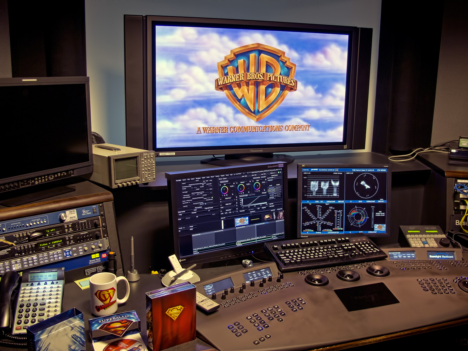 Senior Mastering Colorist Pat Miller's suite at Warner Bros. Motion Picture Imaging on January 13, 2012. Photo by Jim Bowers.