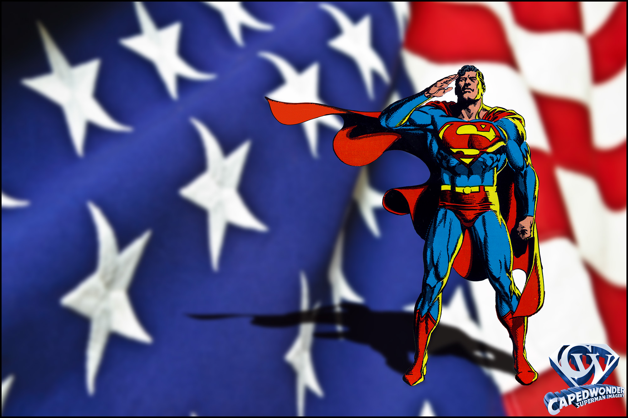 Memorial Day composite by Jim Bowers. Superman art by Jerry Ordway.