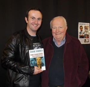 Superfan Aaron Price with veteran actor Shane Rimmer at Def-Con.