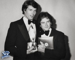 Here's Christopher Reeve presenting his best friend Robin Williams of 'Mork and Mindy' with the Favorite Male Performer at the People's Choice Awards show on March 8, 1979.