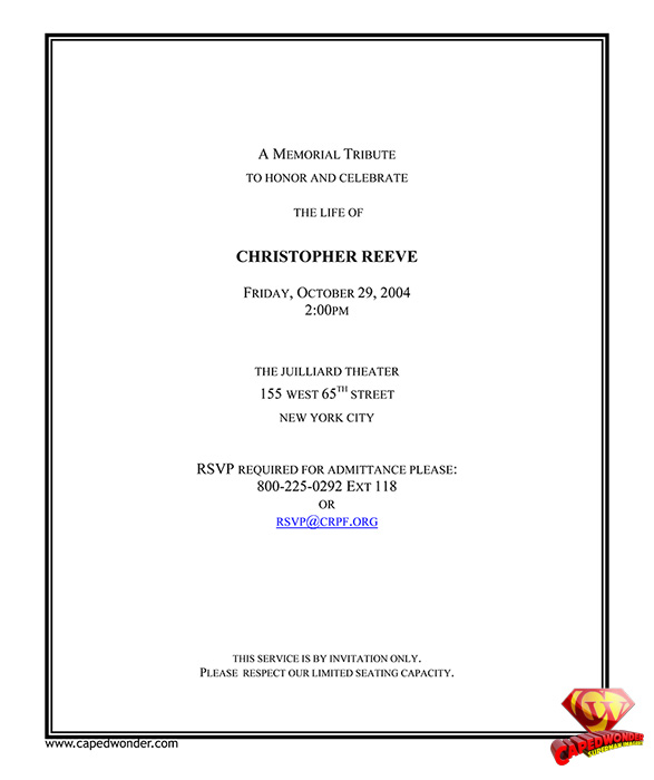 Christopher Reeve's memorial service invitation.
