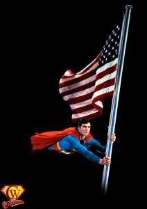 Superman returns the American flag to the White House in Superman II.