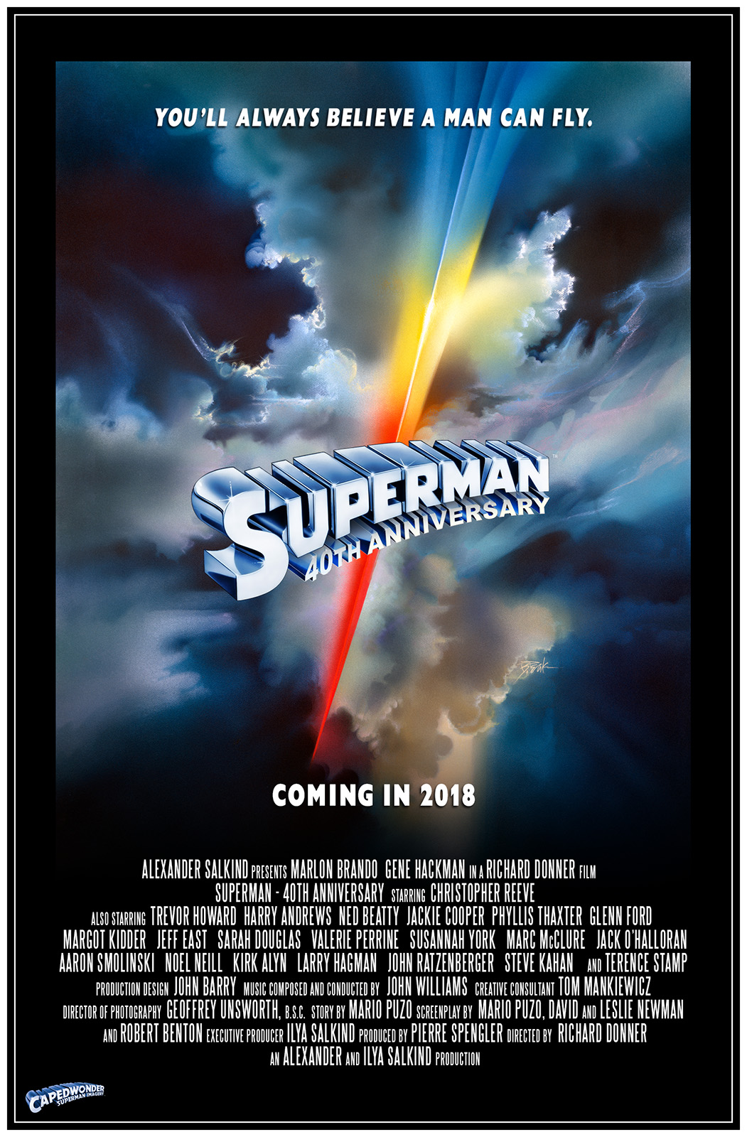 Superman-The Movie 40th Anniversary poster designed by Jim Bowers. Artwork by Bob Peak.
