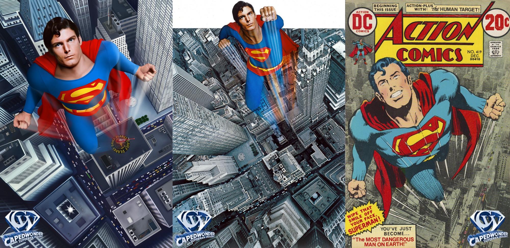Connor McNamara's artwork (left), Superman-The Movie international poster artwork (center) and Superman #419 (right).