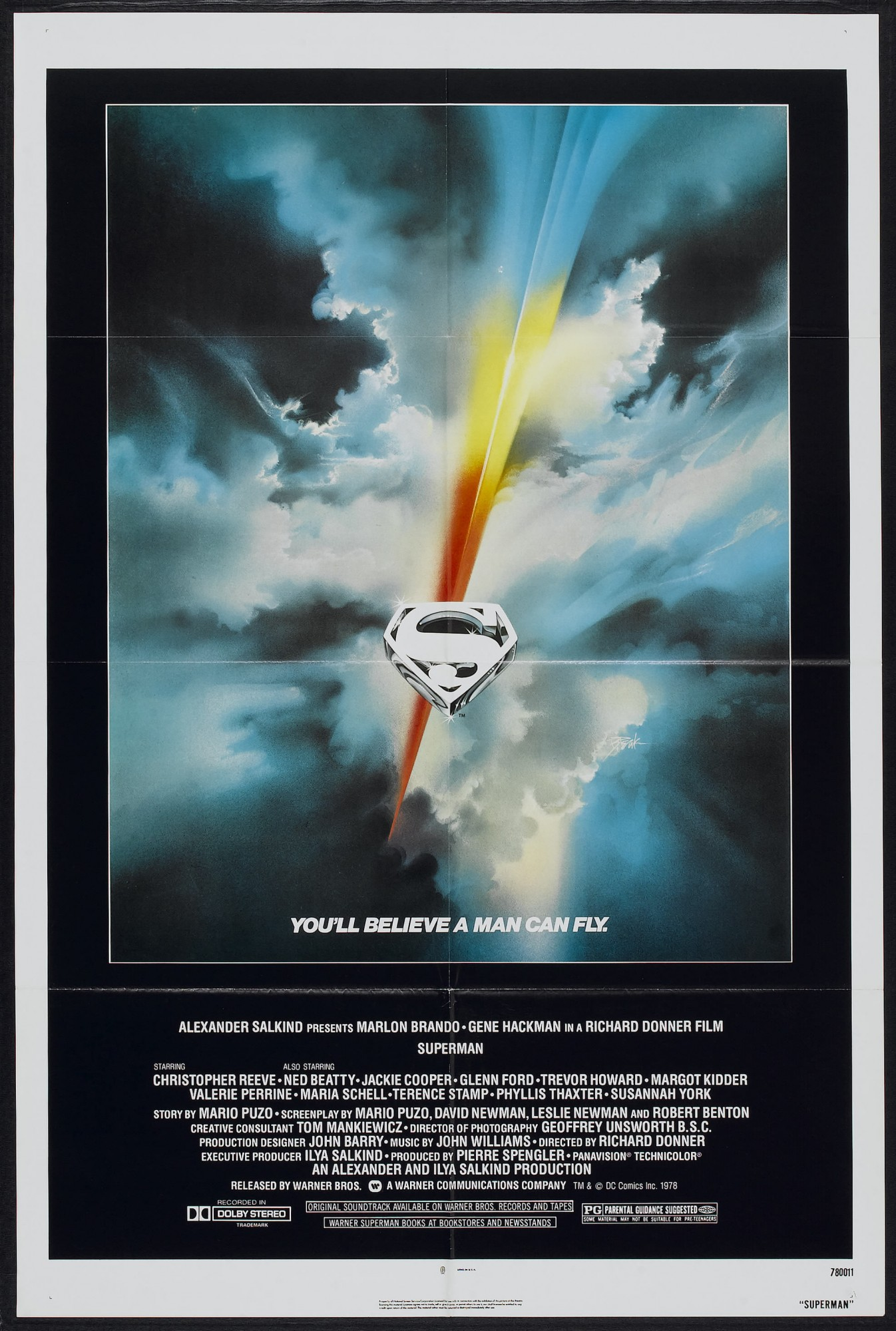 Superman-The Movie one-sheet movie poster.