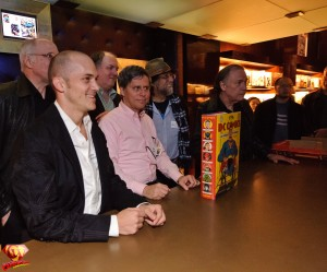 Marv Wolfman (left), Aaron Smolinski (Baby Superman), book author Paul Levitz, and others.