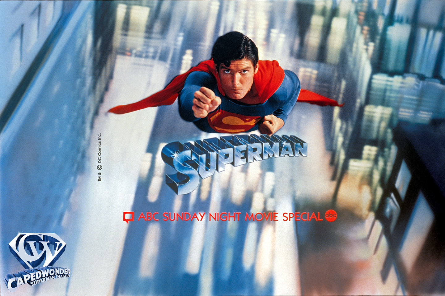 ABC-TV broadcast of Superman-The Movie, February 7-8, 1982 - vintage promotional slide