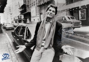 Christopher Reeve outside of Sardi's Restaurant at 234 West 44th Street in New York City on February 23, 1977 following a press conference announcing him as Clark Kent and Superman in 'Superman' and 'Superman II'.