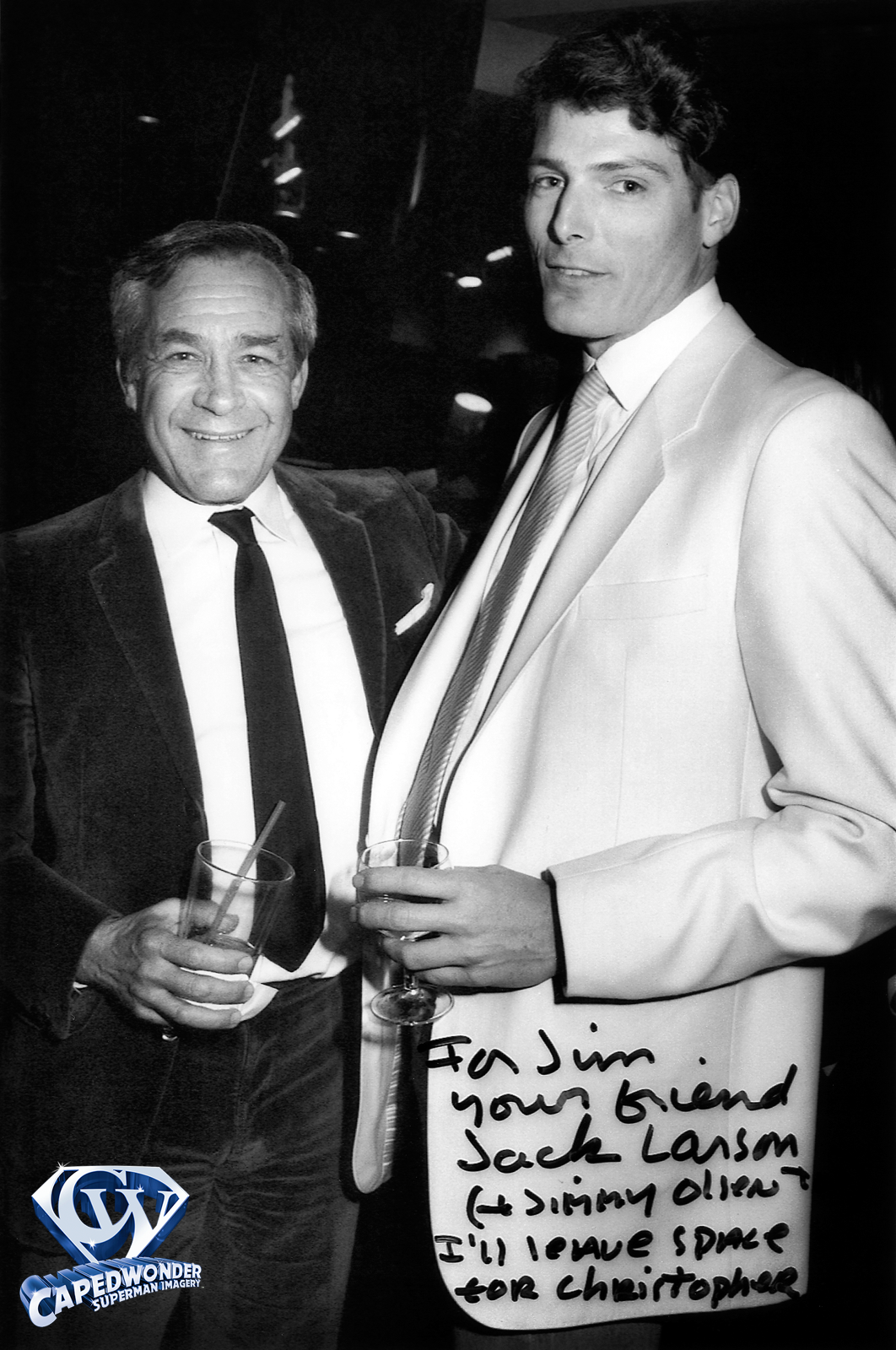 Jack Larson backstage with Christopher Reeve.