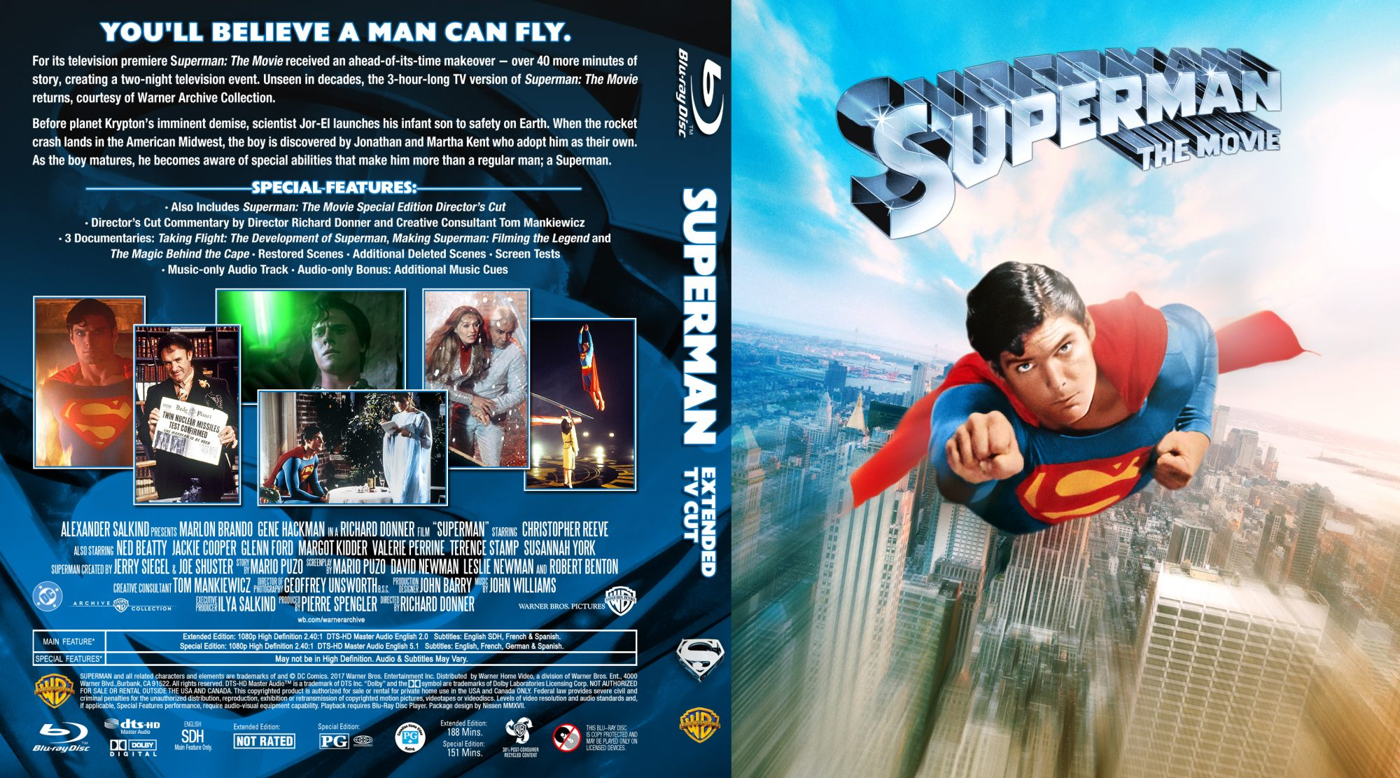 Superman 1 JA Extended TV Edition 2-disc Custom BD by Nissen