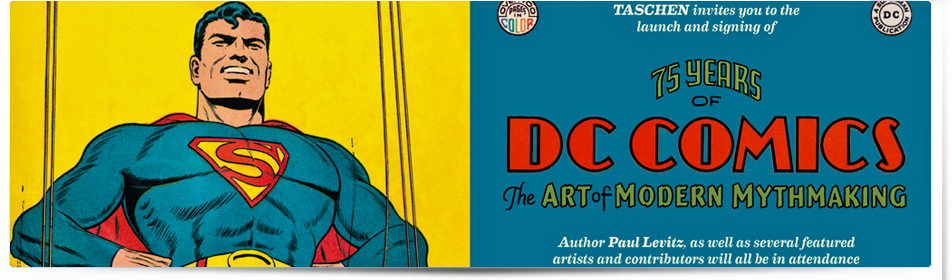 """75 Years of DC Comics: The Art of Modern Mythmaking"" Launch Party Invitation."