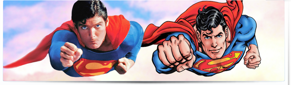 Christopher Reeve as Superman and Superman created by Jose Garcia-Lopez.