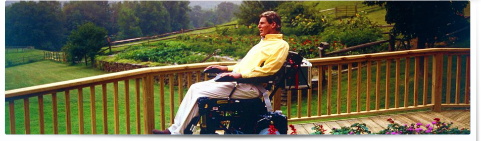 Christopher Reeve in his beautiful backyard in Bedford, New York