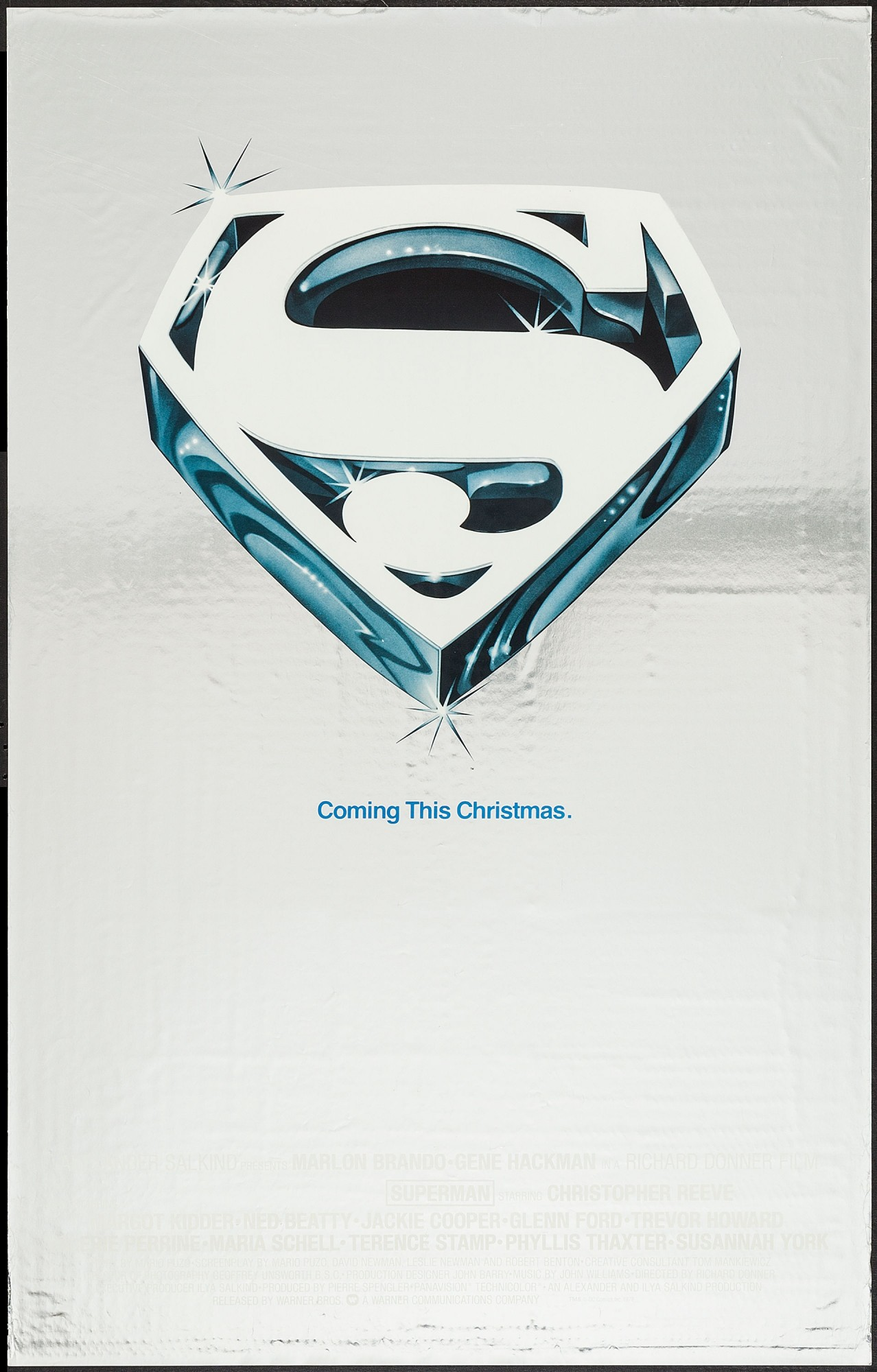 Superman-The Movie silver mylar one-sheet poster #2.