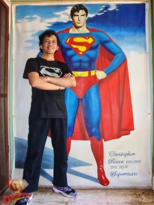 Superfan Ian Rialdi with his amazing Christopher Reeve Superman painting.