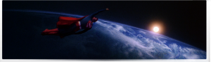 Superman Smiles Above Earth.