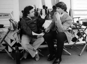 Director Jeannot Szwarc and Christopher Reeve discuss a scene in Somewhere in Time.