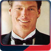 Christopher Reeve models for After Six Tuxedos in the 1990s.