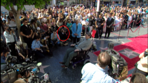 CapedWonder.com Editor Jim Bowers is circled in red with his Nikon camera up to his face. This was Christopher Reeve's Star Ceremony on the Hollywood Walk of Fame, April 15, 1997.