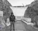 David Petrou in front of the Hoover Dam miniature at Pinewood Studios