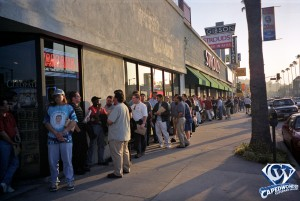 Fans in line outside of Dave's Video.