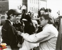 David Michael Petrou (left wearing hat) with Superman Director Richard Donner in Canada filming Smallville scenes for Superman-The Movie, August 1977.