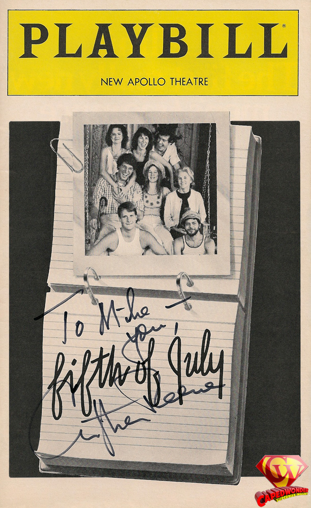 Fifth of July Playbill cover autographed to Mike Frahme from Christopher Reeve in New York City in November 1980.