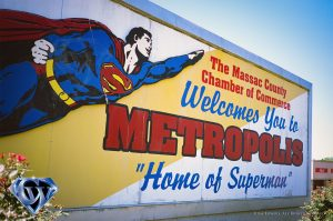 The Metropolis welcome sign in 2018. Shot with 35mm Fuji slide film.