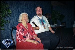 Film Historian John Field with Noel Neill at one of his 16mm film presentations in 2001.