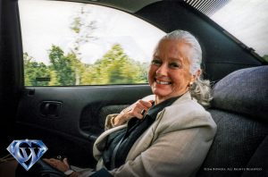 Noel Neill leaving Metropolis in 1997.