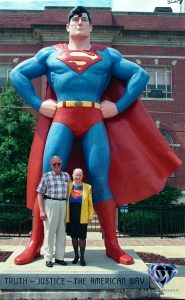 O.D. Troutman and Noel Neill at the Superman statue in 1997.