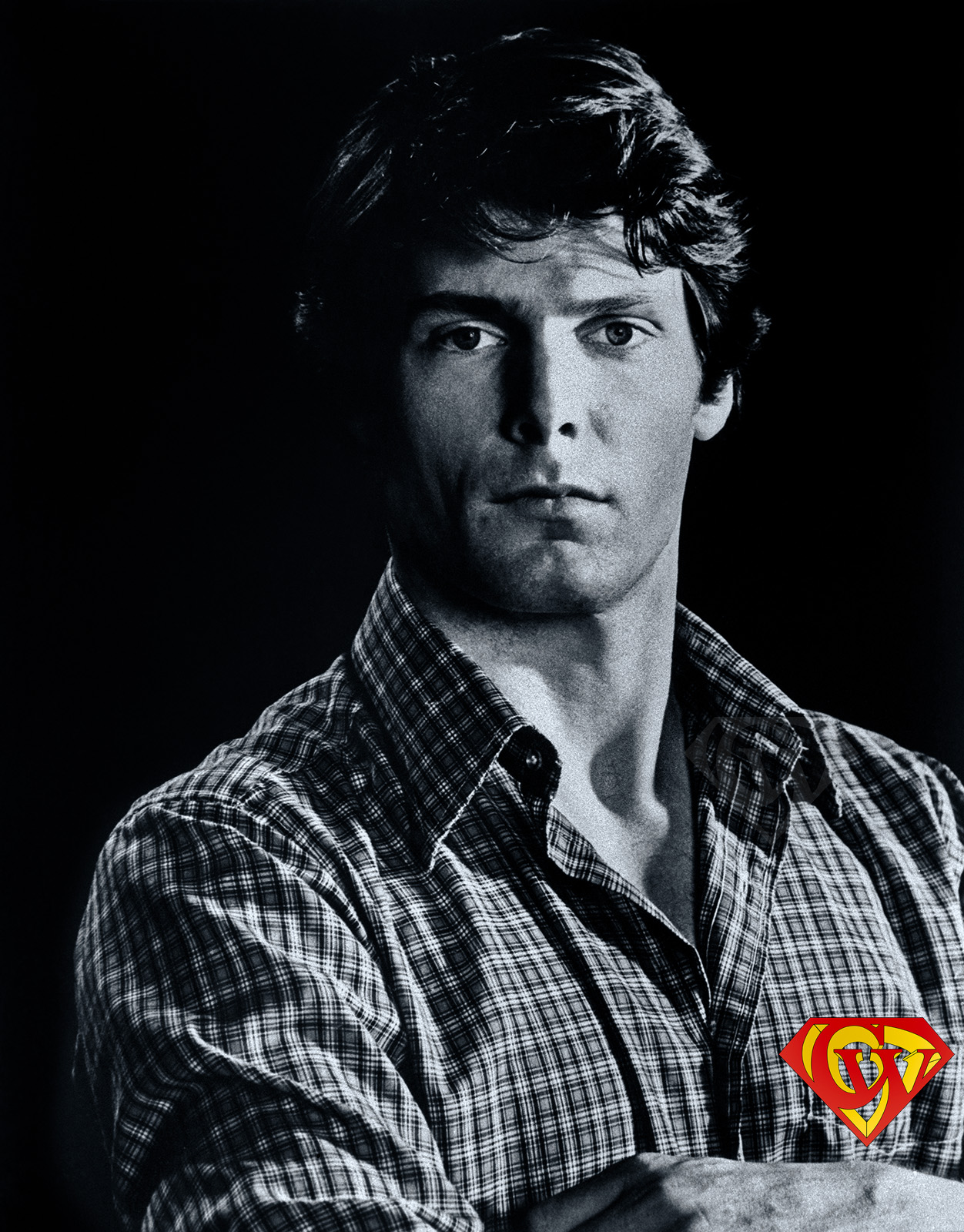 A 1977 portrait of Christopher Reeve by Bob Penn.