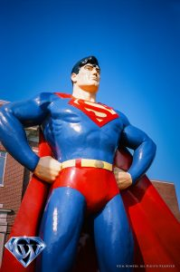 The Superman statue in 2018 shot with Fuji slide film.