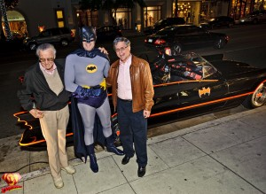 Stan Lee and Paul Levitz with Batman.