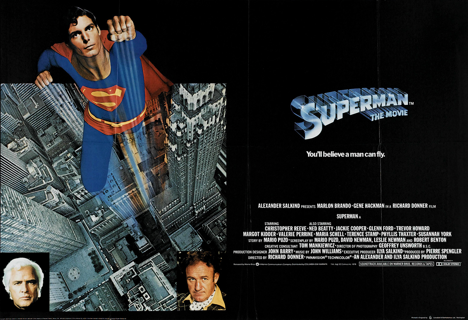 Superman the Movie (Warner Brothers, 1978) British Quad (30 X 40)